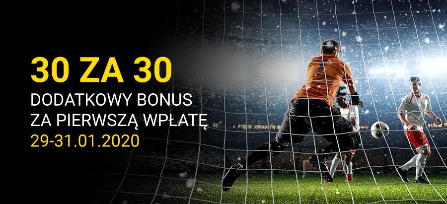 30 za 30 – bonus za pierwszy depozyt